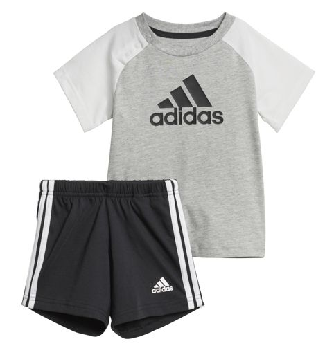 Conjunto de bebé ADIDAS SUMMER SET gris, blanco y negro CF7408