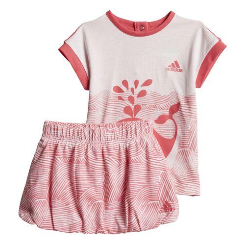 Conjunto camiseta y falda de niña ADIDAS SUMMER FUN blanco y rosa CF7422