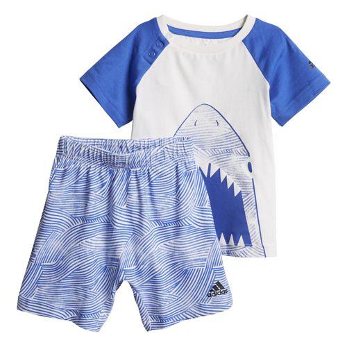 Conjunto camiseta y bermuda de niño ADIDAS SUMMER FUN blanco y azul CF7424