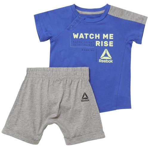 Conjunto camiseta + bermuda de niño REEBOK B ES INF SJ SS SET azul y gris CF2749