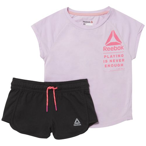 Conjunto camiseta + short de niña REEBOK ES SS SET morado y negro CF4257