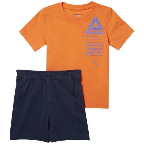 Conjunto camiseta + bermuda de niño REEBOK ES SS SET naranja y marino CF4287