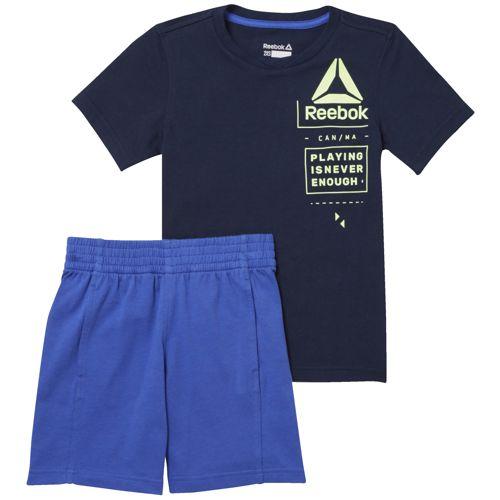 Conjunto camiseta + bermuda de niño REEBOK ES SS SET marino y azul CF4289