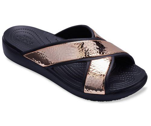 Sandalia de mujer CROCS SLOANE HAMMERED XSTRP SLIDE negra y oro rosa 205136_08O