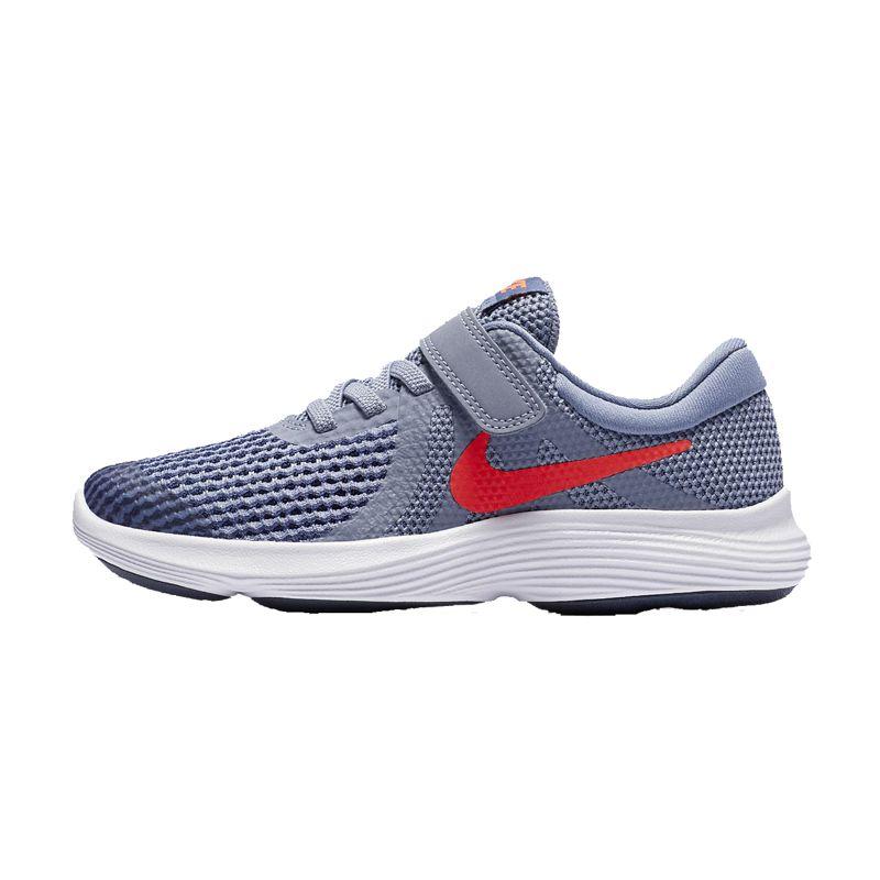 Zapatillas running niño/a NIKE REVOLUTION 4 azul grisáceo y naranja 943305-400