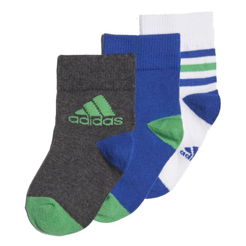 Pack calcetines bebé ADIDAS TOBILLERO blanco, azul y gris DJ2271