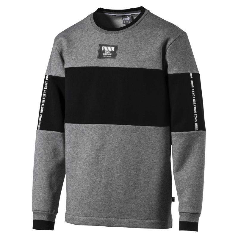 Sudadera PUMA REBEL BLOCK gris y negra 852399-03