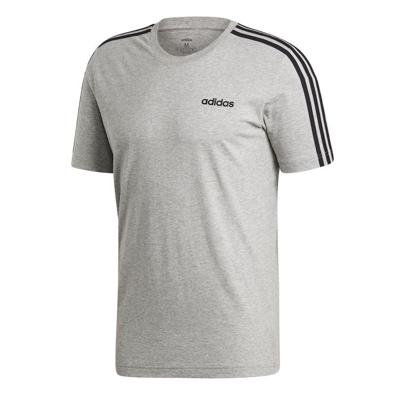 Camiseta ADIDAS ESSENTIALS 3 BANDAS gris y negra DU0442