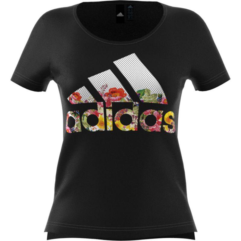 Camiseta de mujer ADIDAS BOS FLOWER negra DX2535
