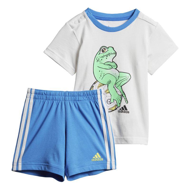 Conjunto camiseta y bermuda de niño pequeño ADIDAS ANIMAL blanco y azul DV1253