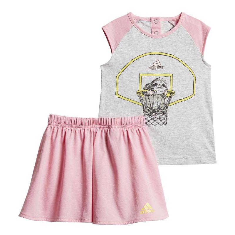 Conjunto camiseta y falda pantalón de niña pequeña ADIDAS ANIMAL gris y rosa DV1257