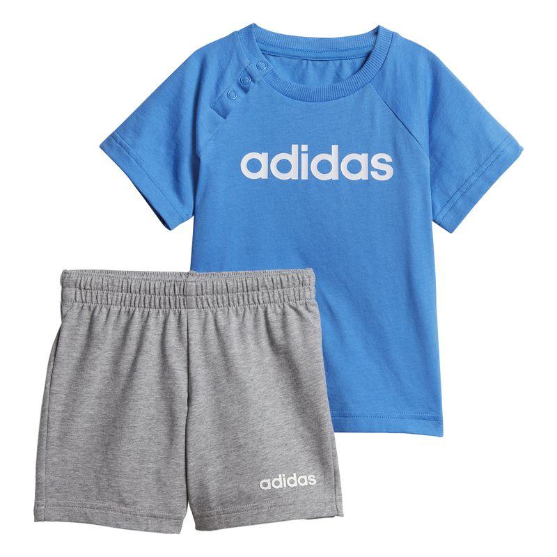 Conjunto camiseta y pantalón de niño pequeño ADIDAS LINEAR SUMMER azul y gris DV1263
