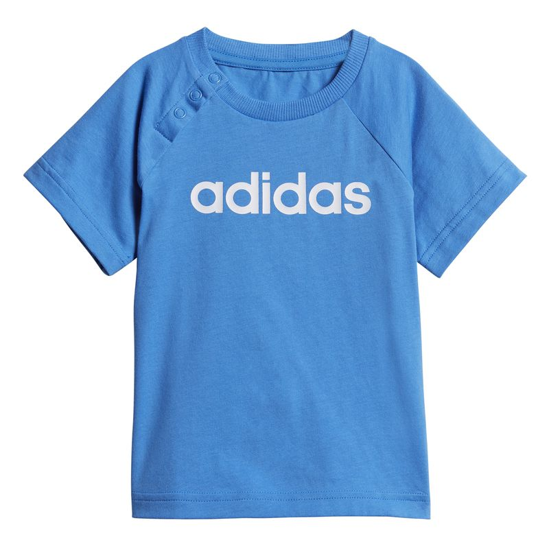 Conjunto camiseta y pantalón de niño pequeño ADIDAS LINEAR SUMMER azul y gris