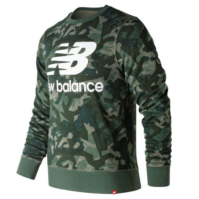 Sudadera NEW BALANCE ESSENTIALS STAKED LOGO verde camuflaje MT91548MGN