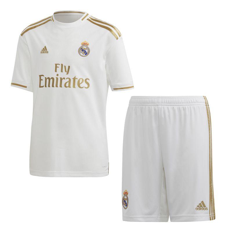 Conjunto de niño-a 1ª Equipación Real Madrid ADIDAS REAL MADRID 2019/2020 blanca y dorada DX8841