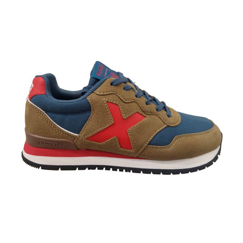 Zapatillas MUNICH DASH marrón, azul y rojo