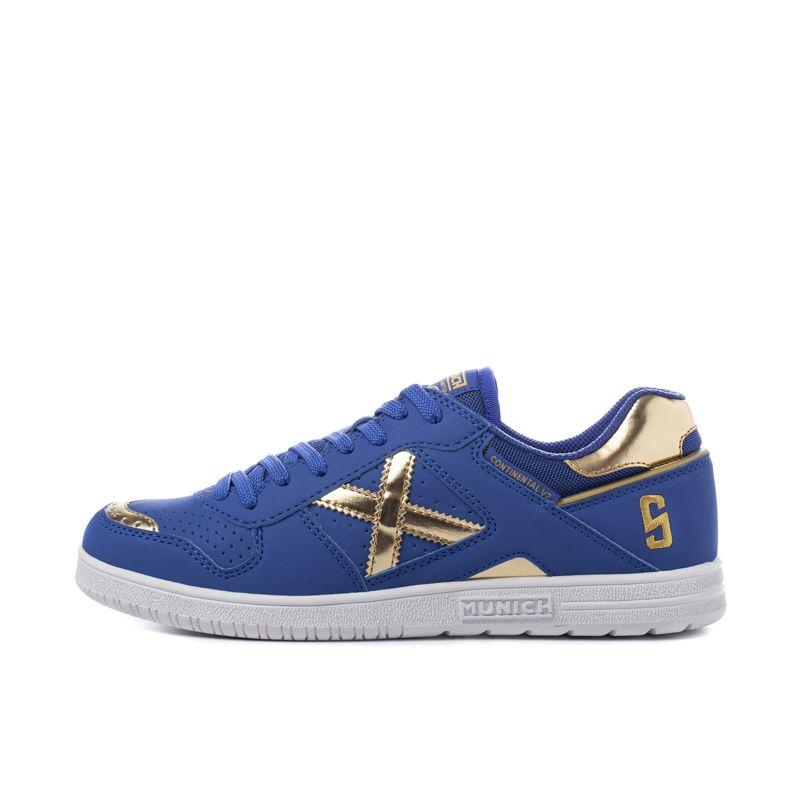 Zapatillas fútbol sala MUNICH CONTINENTAL V2 azul y dorado 4104005