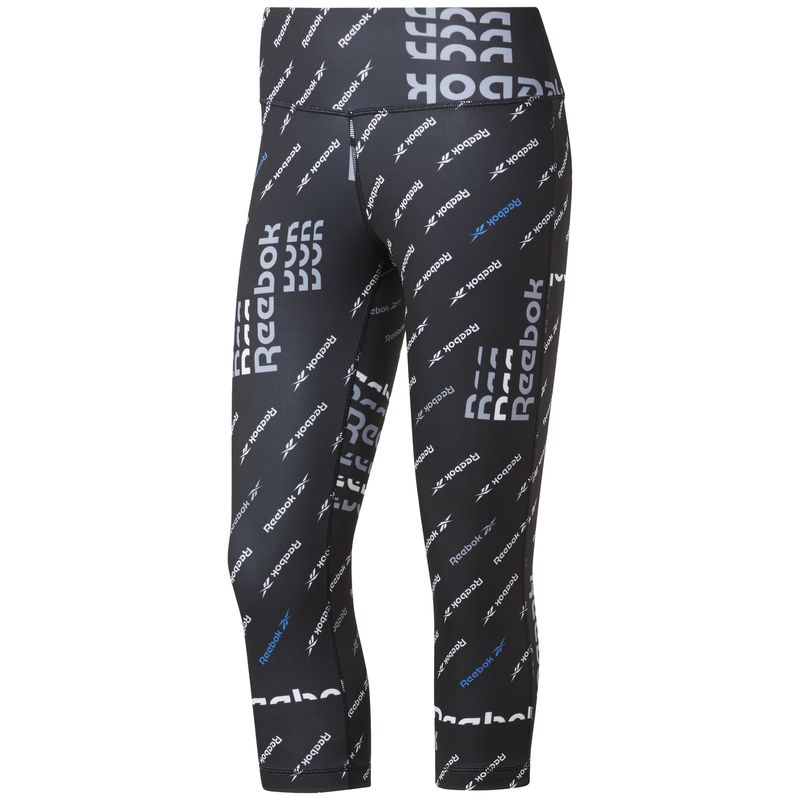 Malla pirata de mujer REEBOK WORKOUT READY ALLOVER PRINT negra estampada FK6861