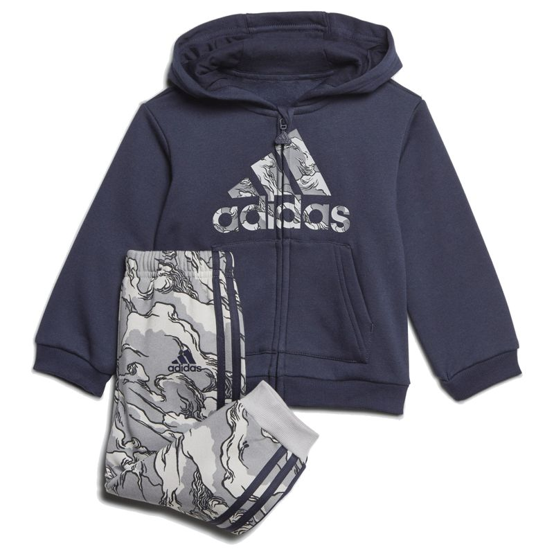 Chandal bebé ADIDAS FLEECE HOODED marino y gris GE0007