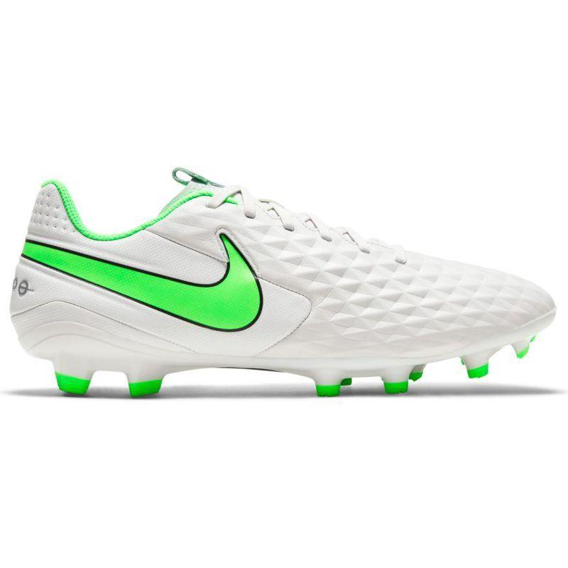 Bota de fútbol multitaco NIKE LEGEND 8 ACADEMY FG/MG blanca y verde AT5292-030